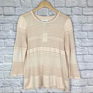 NEW Peck & Peck Open Knit Sweater Light Pink XL